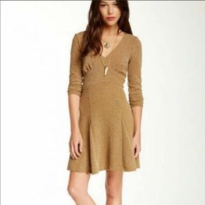 Free People Tan Heartstopper Fit & Flare Dress